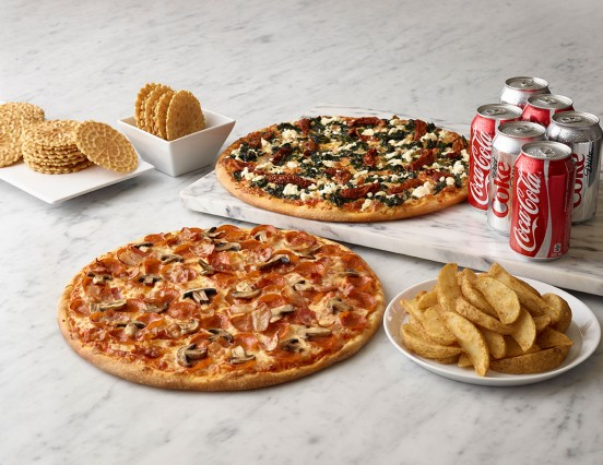 Family Special - 2 pizzas, 6 cans of pop, potato wedges